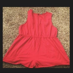 Plus size red romper playsuit